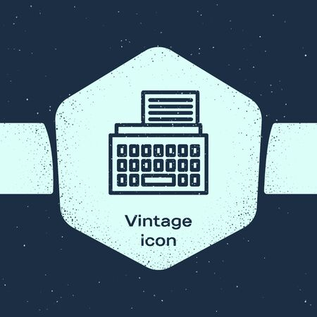 Grunge line Retro typewriter and paper sheet icon isolated on blue background. Monochrome vintage drawing. Vector Illustration
