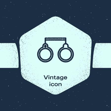 Grunge line Handcuffs icon isolated on blue background. Monochrome vintage drawing. Vector Illustration