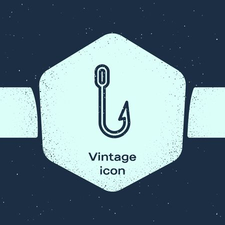 Grunge line Fishing hook icon isolated on blue background. Fishing tackle. Monochrome vintage drawing. Vector Illustration
