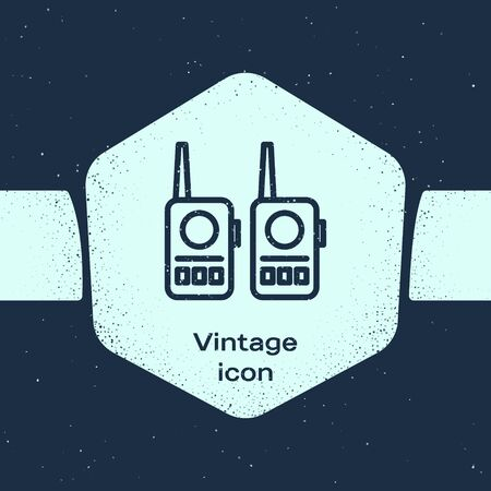 Grunge line Walkie talkie icon isolated on blue background. Portable radio transmitter icon. Radio transceiver sign. Monochrome vintage drawing. Vector Illustration