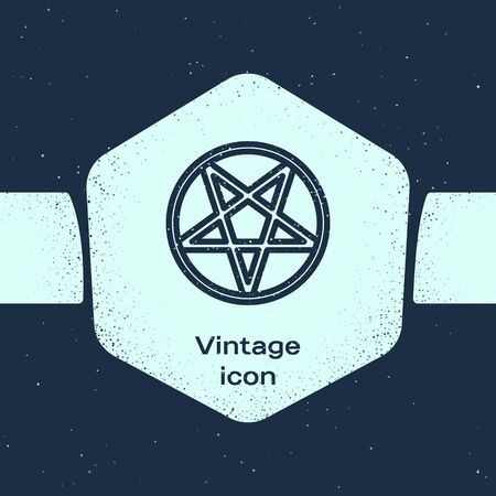 Grunge line Pentagram in a circle icon isolated on blue background. Magic occult star symbol. Monochrome vintage drawing. Vector Illustration