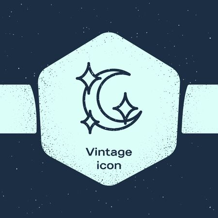 Grunge line Moon and stars icon isolated on blue background. Monochrome vintage drawing. Vector Illustration