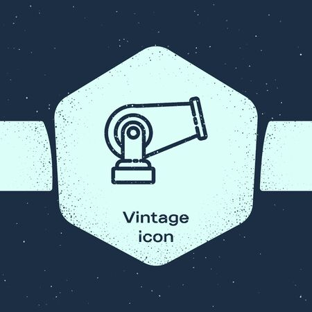 Grunge line Cannon icon isolated on blue background. Monochrome vintage drawing. Vector Illustration