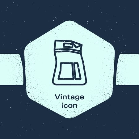 Grunge line Cement bag icon isolated on blue background. Monochrome vintage drawing. Vector Illustration Ilustração