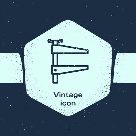 Grunge line Clamp tool icon isolated on blue background. Locksmith tool. Monochrome vintage drawing. Vector Illustration