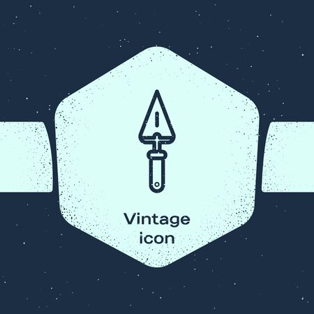 Grunge line Trowel icon isolated on blue background. Monochrome vintage drawing. Vector Illustration