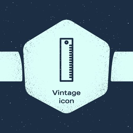 Grunge line Ruler icon isolated on blue background. Straightedge symbol. Monochrome vintage drawing. Vector Illustration Vetores