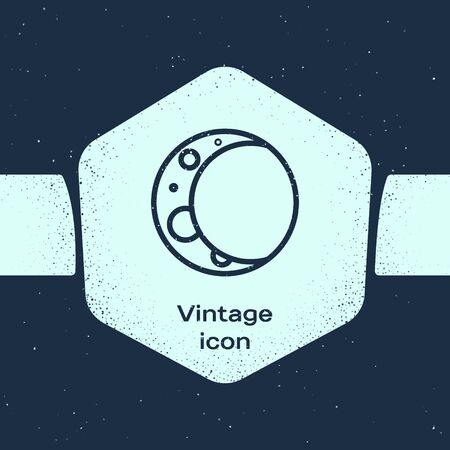 Grunge line Moon icon isolated on blue background. Monochrome vintage drawing. Vector Illustration