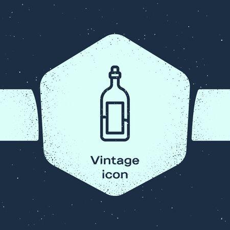 Grunge line Bottle of wine icon isolated on blue background. Monochrome vintage drawing. Vector Illustration