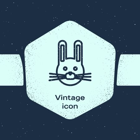 Grunge line Easter rabbit icon isolated on blue background. Easter Bunny. Monochrome vintage drawing. Vector Illustration Vector Illustratie