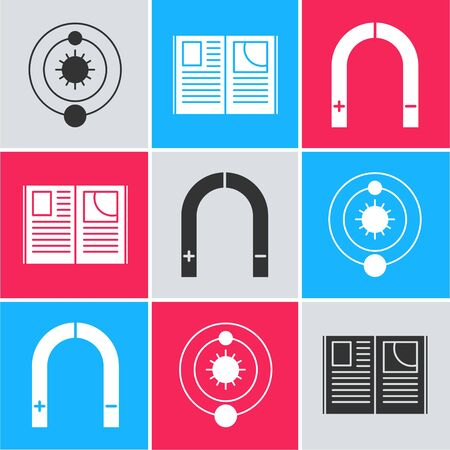 Set Solar system, Open book and Magnet icon. Vector