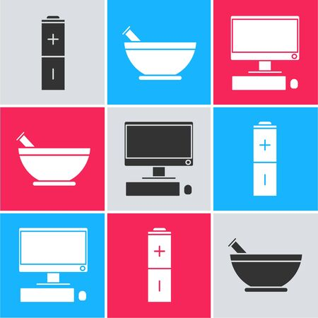 Set Battery, Mortar and pestle and Computer monitor with keyboard and mouse icon. Vector