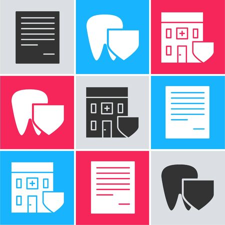 Set Document, Tooth with shield and Medical hospital building with shield icon. Vector