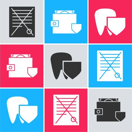 Set Delete file document, Wallet and money with shield and Tooth with shield icon. Vector