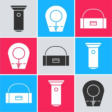 Set Flashlight, Diving hood and Case or box container for wobbler icon. Vector