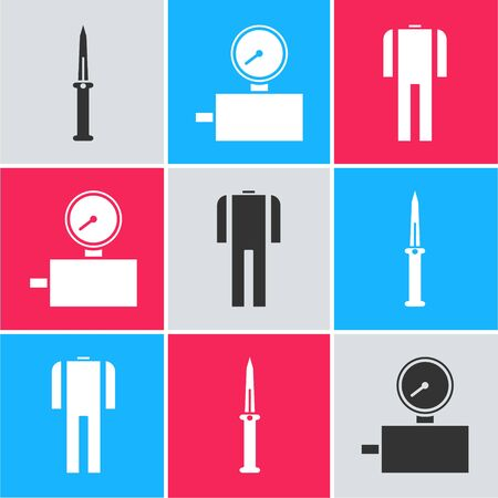 Set Army knife, Gauge scale and Wetsuit for scuba diving icon. Vector