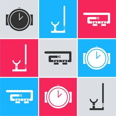 Set Diving watch, Snorkel and Diving belt icon. Vector Vector Illustratie