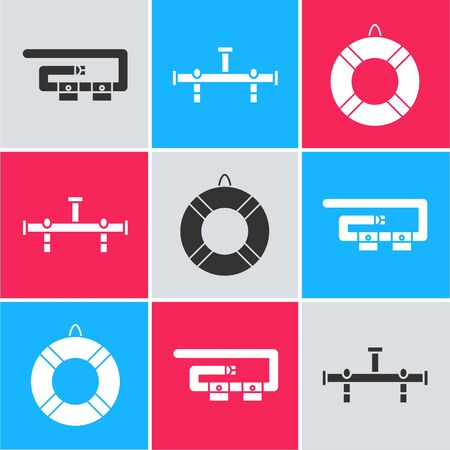 Set Diving belt, Manifold and Lifebuoy icon. Vector