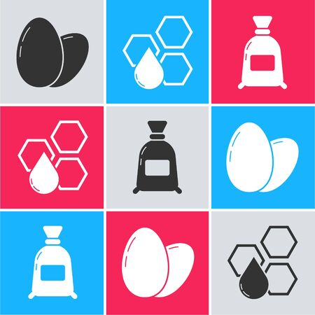 Set Chicken egg, Honeycomb and Bag of flour icon. Vector