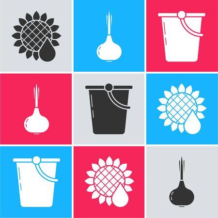 Set Sunflower, Onion and Bucket icon. Vector
