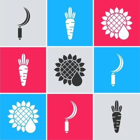 Set Sickle, Carrot and Sunflower icon. Vector