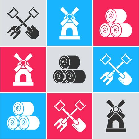 Set Shovel and rake, Windmill and Roll of hay icon. Vector