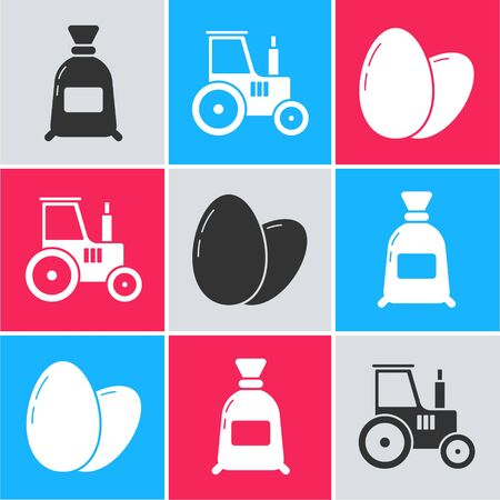 Set Bag of flour, Tractor and Chicken egg icon. Vector