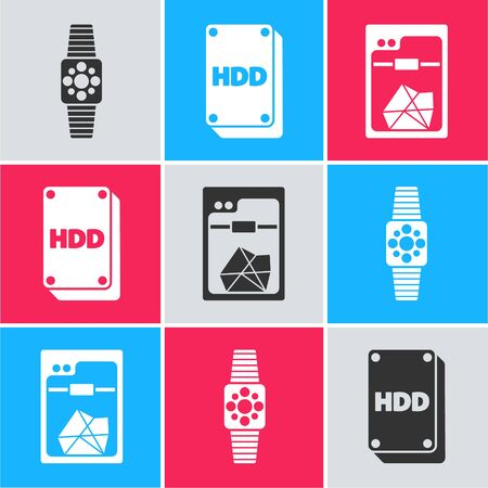 Set Smartwatch, Hard disk drive HDD and 3D printer icon. Vector