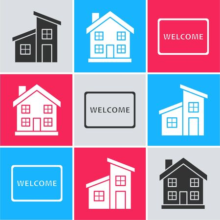 Set House, Home symbol and Doormat with the text Welcome icon. Vector