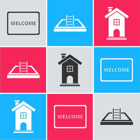 Set Doormat with the text Welcome, Swimming pool with ladder and Home symbol icon. Vector Ilustração