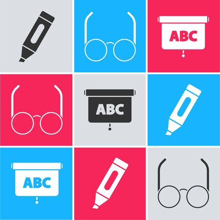 Set Marker pen, Glasses and Chalkboard icon. Vector