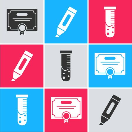 Set Certificate template, Marker pen and Test tube and flask chemical laboratory icon. Vector