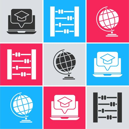 Set Graduation cap on screen laptop, Abacus and Earth globe icon. Vector Ilustracja