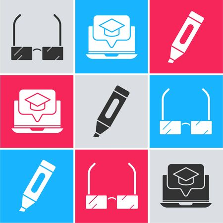 Set Glasses, Graduation cap on screen laptop and Marker pen icon. Vector
