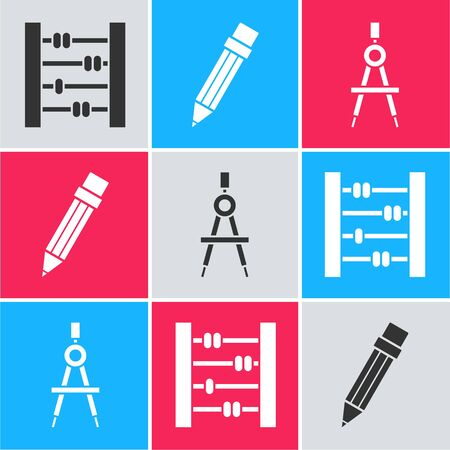 Set Abacus, Pencil with eraser and Drawing compass icon. Vector Ilustracja