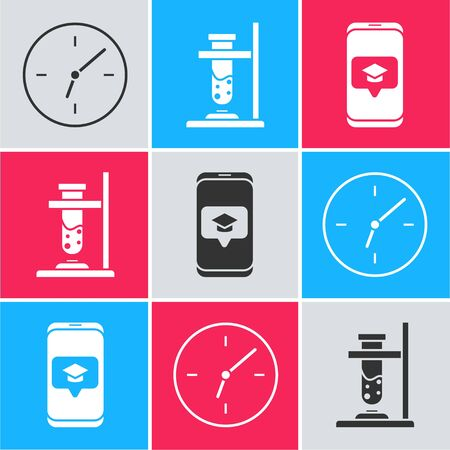 Set Clock, Glass test tube flask on fire and Graduation cap on screen smartphone icon. Vector