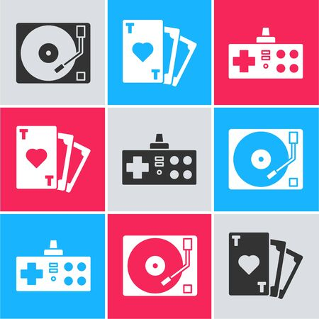 Set Vinyl player with a vinyl disk, Playing card with heart symbol and Gamepad icon. Vector
