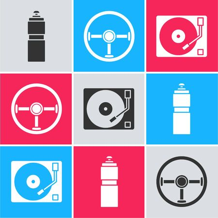 Set Fitness shaker, Steering wheel and Vinyl player with a vinyl disk icon. Vector 向量圖像