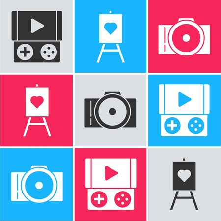 Set Portable video game console, Wood easel or painting art boards and Photo camera icon. Vector
