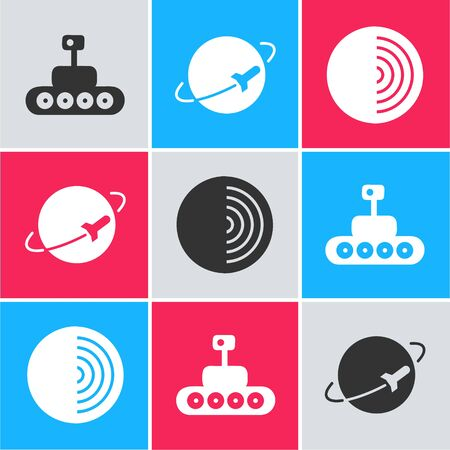 Set Mars moonwalker, Planet and Earth structure icon. Vector