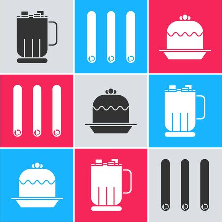 Set Hot chocolate cup with marshmallows, Three rolled sticks of cinnamon and Cake icon. Vector