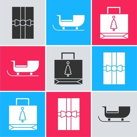 Set Gift box, Christmas santa claus sleigh and Christmas paper shopping bag icon. Vector Stock Illustratie