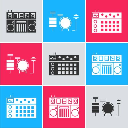Set DJ remote for playing and mixing music, Drums and Drum machine icon. Vector Ilustración de vector