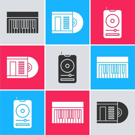 Set Music synthesizer, Vinyl disk and Music player icon. Vector