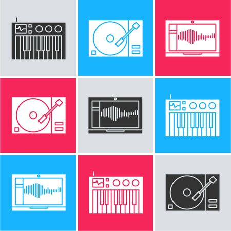 Set Music synthesizer, Vinyl player with a vinyl disk and Sound or audio recorder on laptop icon. Vector 向量圖像