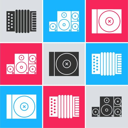 Set Musical instrument accordion, Stereo speaker and CD or DVD disk icon. Vector