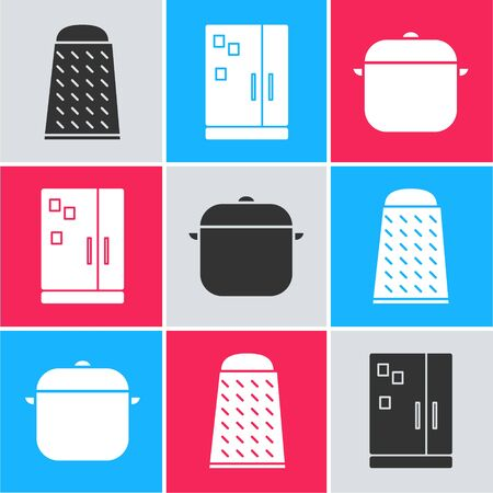 Set Grater, Refrigerator and Cooking pot icon. Vector