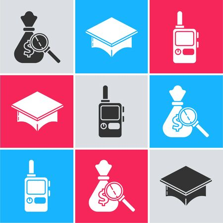 Set Money bag and magnifying glass, Graduation cap and Walkie talkie icon. Vector