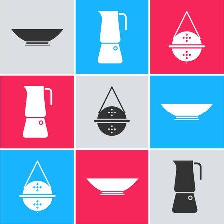 Set Bowl, Moka pot and Ball tea strainer icon. Vector