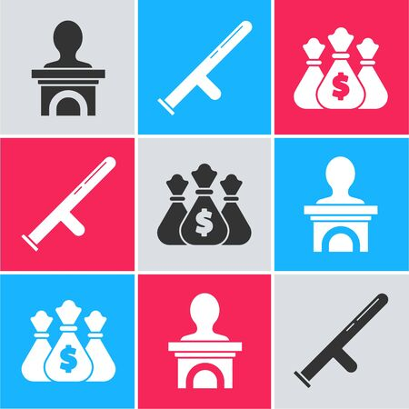 Set Stage stand or debate podium rostrum, Police rubber baton and Money bag icon. Vector
